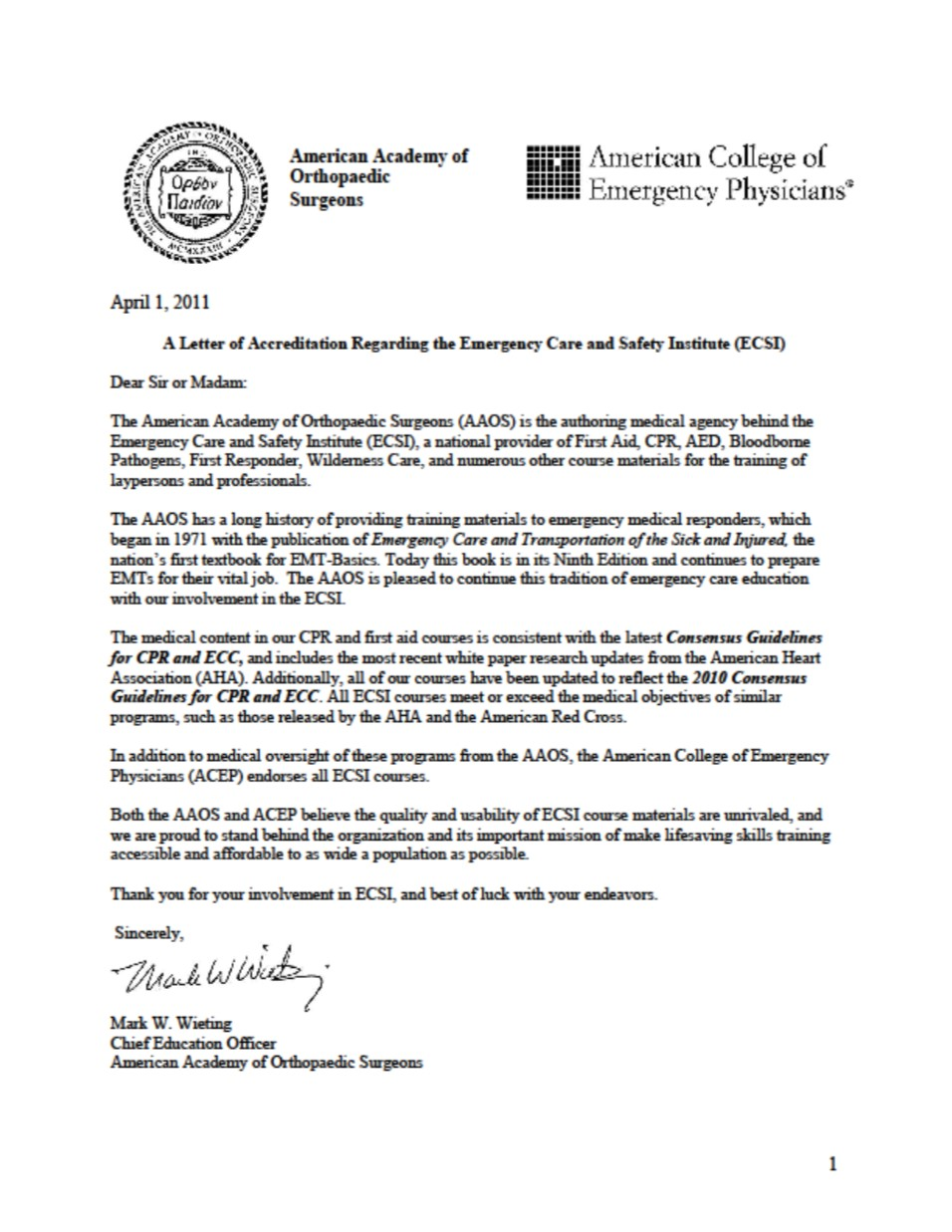 American Academy of Orthopaedic Surgeons (AAOS) Letter - AG